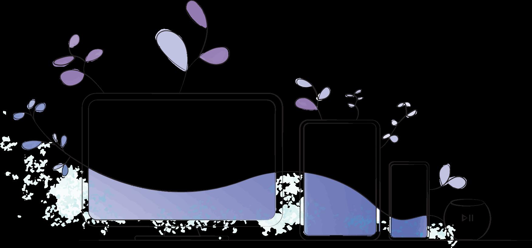 Desktop screen, tablet screen, mobile phone screen and smart speaker.