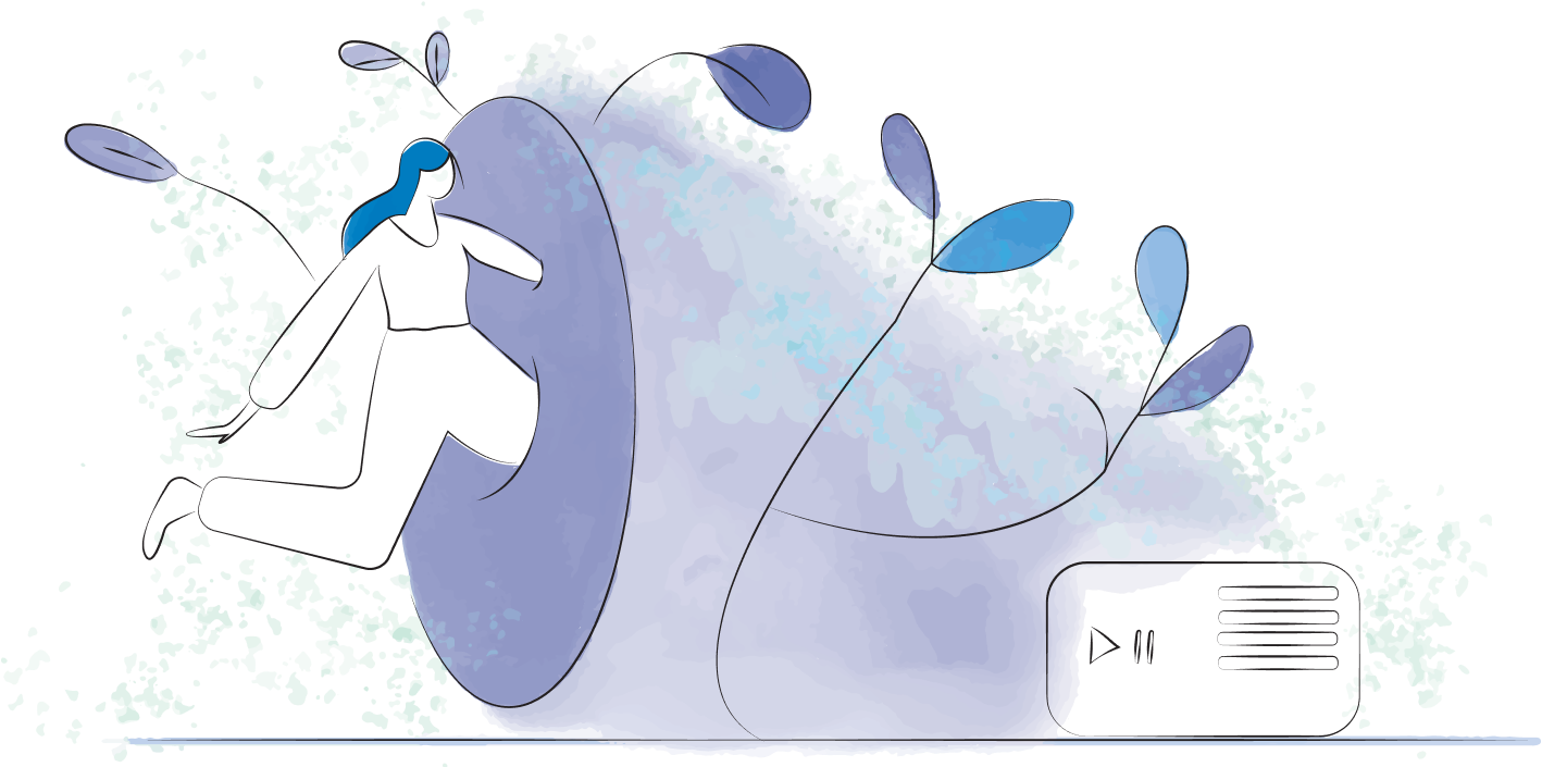 Woman leaping into a portal of sound with music player on the ground.